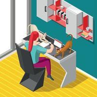 werkproces en katten achtergrond vectorillustratie vector