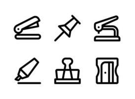eenvoudige set van briefpapier gerelateerde vector lijn iconen