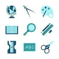 set van iconen van schoolbenodigdheden vector