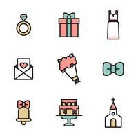 Geschetst huwelijk pictogrammen