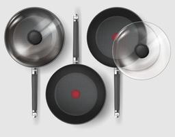realistische klassieke braadpan met glazen deksel en handvatvector vector