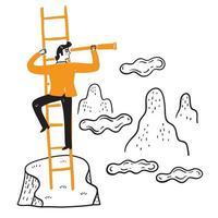 zakenman zoekt ver naar nieuwe zaken met een verrekijker vector