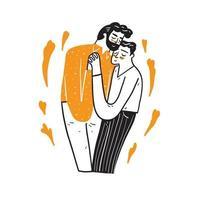 schattig homoseksueel paar knuffelen en kussen elkaar vector