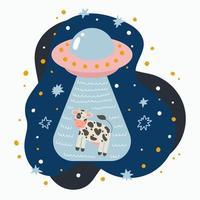 schattige vliegende schotel ontvoering een koe hand getrokken doodle ufo in de nachtelijke hemel vector