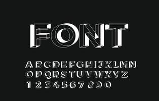 3D geometrische alfabet lettertype letters cijfers en symbolen vector