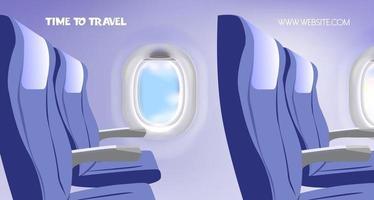 tijd om te reizen uitzicht vanaf vliegtuig reclame diensten ontwerp website voor reizende vectorillustratie vector