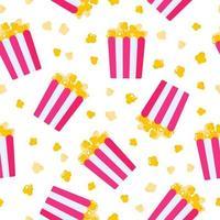 naadloze patroon van papieren doos met popcorn voor de bruiloft of valentijn dag vector