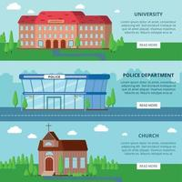 gemeentelijke gebouwen horizontale banners vector illustratie