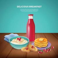 ontbijt realistische vectorillustratie als achtergrond vector