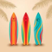 surfplanken met verschillende ontwerpen vector