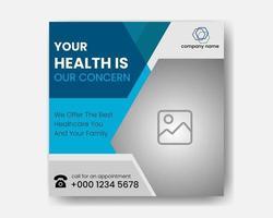 post in de gezondheidszorg op sociale media vector