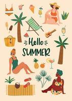 vectorillustratie van vrouwen in zwembroek op tropisch strand. zomervakantie vakantie reizen vector