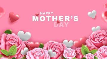 moederdag wenskaart met prachtige bloesem bloemen achtergrond vector