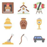 begrafenis gerelateerde vector icon set 8 vlakke stijl