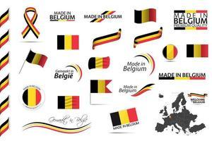 grote vector set van belgische linten symbolen pictogrammen en vlaggen geïsoleerd op een witte achtergrond gemaakt in belgië premium kwaliteit belgische nationale driekleur set voor uw infographics en sjablonen