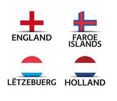 Engeland Faeröer Luxemburg en Nederland set van vier Engelse Faeröer Luxemburgse en Nederlandse stickers eenvoudige pictogrammen met vlaggen geïsoleerd op een witte achtergrond vector