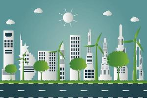 windturbines met bomen en zon schone energie met milieuvriendelijke conceptideeën op stadsachtergrond vector