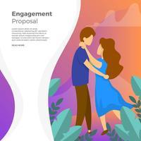 platte paar verloving voorstel met gradiënt achtergrond vectorillustratie
