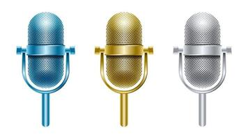 set goud zilver blauw metalen microfoon geïsoleerd vector