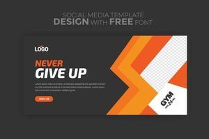 websjabloon voor spandoek met sport concept sociale media advertentie flyer voor sportschool, fitness en sportschool vector