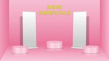 toont productachtergrond in roze kleur met staande banners en podia vector