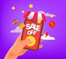 man met behulp van mobiele telefoon om goederen te kopen vector