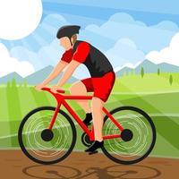 man met een fiets vector