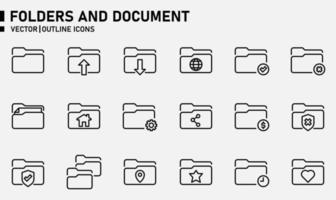 mappen en document overzicht pictogramserie vector