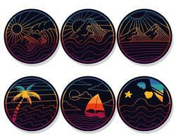 natuur retro stickers vector illustratie