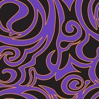 naadloze patroon van spiralen en krullen van zwarte kleur op een paarse achtergrond met oranje randen vector