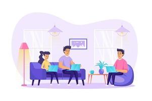 freelance werk vanuit kantoor aan huis concept vectorillustratie van personen personages in platte ontwerp vector