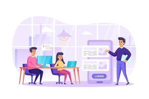 app-ontwikkeling bij kantoorconcept vectorillustratie van personenpersonages in plat ontwerp vector