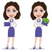mooie zakenvrouw met verzegelde envelop en envelop met geld vector