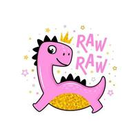 schattige cartoon roze en goudkleurige dino kid prinses karakter met kroon zegt raw raw voor kindermode print ontwerpen vector