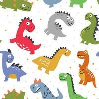 kleurrijk patroon met schattige kleurrijke dinosaurussen vector