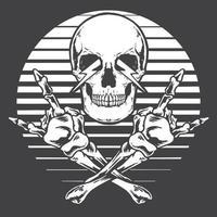 gekruiste schedelhanden rock and roll monochroom vector