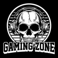 schedel logo gaming met koptelefoon vectorillustratie vector