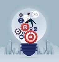 zakenman zittend op versnelling om idee te creëren. bedrijfsconcept vector