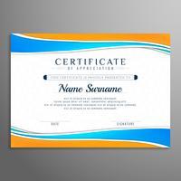 Abstracte golvende mooie certificaat ontwerpsjabloon
