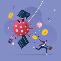 zakenman probeert te ontsnappen aan de uitbraak van het coronavirus. financiële crisis concept vector