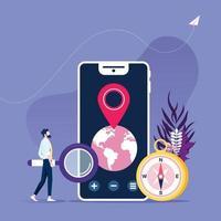 zakenman met smartphone en mobiele navigatie-app, bestemmingspuntspeld vector