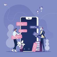 chat bot concept. zakenman chatten met chat-bot op smartphone vector