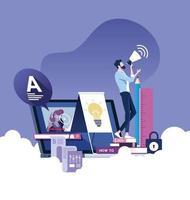 onderwijs online of e-learning vector concept