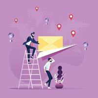 e-mail en bericht verzendende concept. zakenman post verzonden per papieren vliegtuigje vector
