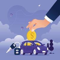 hand munt aanbrengend de auto als spaarvarken. geld besparen voor auto-concept vector