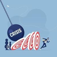 zakenman ontsnapt aan vallend doelwit, domino-effect. crisis bedrijfsconcept vector