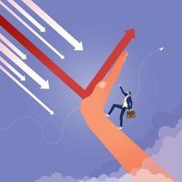 business team en uitdaging concept veranderende richting van financiële vector