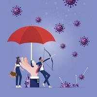 overwinning van coronavirus pandemie concept. bestrijding van het coronavirus vector
