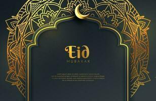 luxe zwarte gouden achtergrond banner met islamitische arabesque mandala ornament eid mubarak ontwerpsjabloon vector