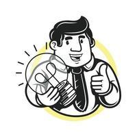 zakenman bedrijf gloeilamp en duim omhoog vector